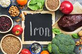 Foods High In Iron. Vegetables, Fruits Rich In Iron On A Rustic Background. Top View, Flat Lay, Copy poster