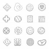 Slice Food Ingredient Icons Set. Outline Illustration Of 16 Slice Food Ingredient Icons For Web poster
