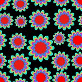 Seamless Patterns With Fantasy Flower In Psychedelic Vivid Colors On Black Background. High Contrast poster