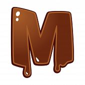 Chocolate Melt Font Type Letter M Isolated On White poster
