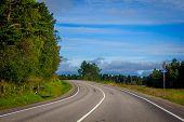 Russian Roads In Karelia. Travel By Road. Asphalt Road. Smooth Road poster
