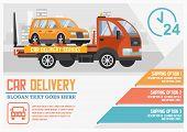 Car Delivery Concept. Car Transportation And Transporter Service. Roadside Assistance And Emergency  poster