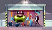 Car Garage Tire Change Replacement Vector Illustration. Mechanic And Client Shake Hands For Auto Ser poster
