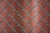 Close-up Of Isolated Painted Simple Geometric Black Iron Metal Wire Chain Link Fence Eon Dark Red Ba poster