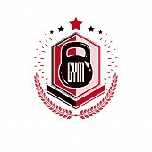 Bodybuilding Weightlifting Gym Logotype Sport Template, Vintage Style Vector Emblem. With Kettlebell poster
