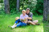 Couple In Love Spend Leisure Reading Book. Couple Soulmates At Romantic Date. Romantic Couple Studen poster