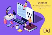 Isometric Concept Creative Writing Or Blogging, Education And Content Management For Web Page, Banne poster