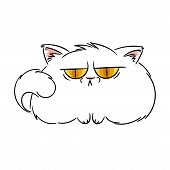 Angry Furry Cartoon Cat. Cute Grumpy Cat For Prints, Design, Cards, Tag. Vector Illustration. poster