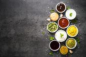 Set Of Sauces - Ketchup, Mayonnaise, Mustard Soy Sauce, Bbq Sauce, Pesto, Chimichurri, Mustard Grain poster