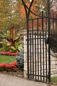 garden gate at Inniswood Gardens in Columbus, Ohio