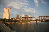 Columbus Ohio as viewed from Northbank Park.  Crowds are gathering along the riverfront
