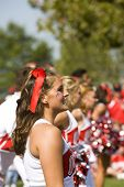 Columbus, Ohio-August 28, 2008: Ohio State cheerleader smiles at the crowd before the game