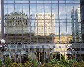 Reflection of the Ohio Statehouse in Columbus, Ohio