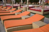 lounge chairs at a luxury resort