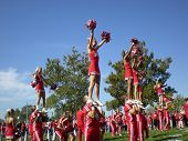 COLUMBUS, OHIO - SEPTEMBER 18: The Ohio State cheerleaders entertain the crowd before their game against the OU Bobcats on September 18, 2010 in Columbus, OH.