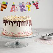 Birthday Drip Layered Cake With Chocolate Ganache And Sprinkles On A White Background With Party Dec poster