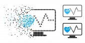Cardio Monitoring Icon In Disappearing, Pixelated Halftone And Undamaged Entire Versions. Cells Are  poster