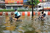 BANGKOK, THAILAND - NOVEMBER 05 : Heavy flooding from monsoon rain in Ayutthaya and north Thailand a