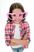 Kid Happy Lovely Feels Sympathy. Child Charming Smile Fall In Love. Girl Heart Shaped Eyeglasses Cel poster