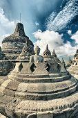 Buddha statue in stupa. Borobudur. Java. Indonesia
