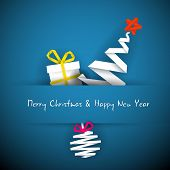 picture of christmas cards  - Simple vector blue christmas card with gift - JPG