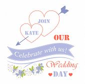 Celebrate With Us Our Wedding Day Festival Poster, Names In Hearts, Arrow And Blue Flowers That Have poster