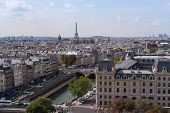 Aerial View To Paris And Eiffel Tower From Notre Dame De Paris In Summer poster