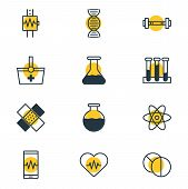 Vector Illustration Of 12 Medicine Icons Line Style. Editable Set Of Medication, Cardiogram, Vial An poster