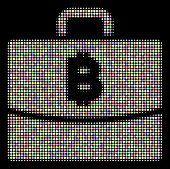 Bitcoin Accounting Case Collage Of Round Dots In Light Color Tinges On A Black Background. Vector Ro poster