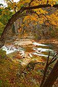 Fall waterfalls of Vanchin Milogradovka river in russian primorye