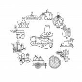 Vector Set Of Linear Cartoon Icons For Thanksgiving Day. Collection Traditional Fall And Thanksgivin poster