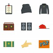 Rap Icon Set. Flat Set Of 9 Rap Vector Icons For Web Design poster