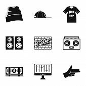 Rap Icon Set. Simple Set Of 9 Rap Vector Icons For Web Design On White Background poster