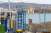 construction of big guyed bridge in the russian Vladivostok over the Eastern Bosphorus strait to the