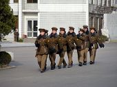 PYONGYANG - MARCH 23: North Korean war woman squad in preparation for military parade on March 23, 2