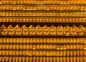 Golden buddha statues at Yakcheonsa Temple, Jeju Island, South Korea