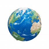 Planet Earth Globe Isolated On White Background. Blue And Green Realistic World. Earth Day Celebrati poster