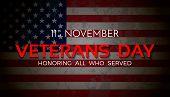 Veterans Day. 11th Of November. Honoring All Who Served. Vector Illustration. poster