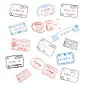conjunto de vários carimbos de visto de passaporte