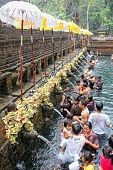 TAMPAK SIRING, BALI, INDONESIA - OCTOBER 30: People praying at holy spring water temple Puru Tirtha