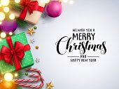 Christmas Background Vector Design With Merry Christmas Text In Empty White Space And Colorful Eleme poster
