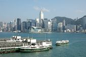 Victoria Harbor in Hong Kong. Taken from Kowloon looking across at the Hong Kong Convention and Exhi