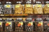 Dried abalone and fish maw display in a chinese seafood and grocery store in Hong Kong