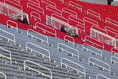 BRISTOL, TN - MAR 19: The grandstands lay almost empty as the NASCAR teams take to the track for the