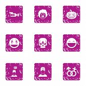 Personal Choice Icons Set. Grunge Set Of 9 Personal Choice Icons For Web Isolated On White Backgroun poster