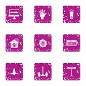 High Tech Style Icons Set. Grunge Set Of 9 High Tech Style Icons For Web Isolated On White Backgroun poster