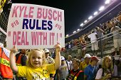 BRISTOL, TN - AUG 21:  5 year old Harper Stiner shows her support for Kyle Busch as he wins all thre