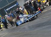 GAINESVILLE, FL - MAR 13:    Copart Top Fuel dragster, driven by Brandon Bernstein, launches off the