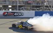 FONTANA, CA - OCT 10:  David Ragan spins off the frontstretch during the Pepsi Max 400 race at the A