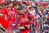 FONTANA, CA - OCT 10:  Tony Stewart holds off the rest of the Sprint Cup teams to win the Pepsi Max